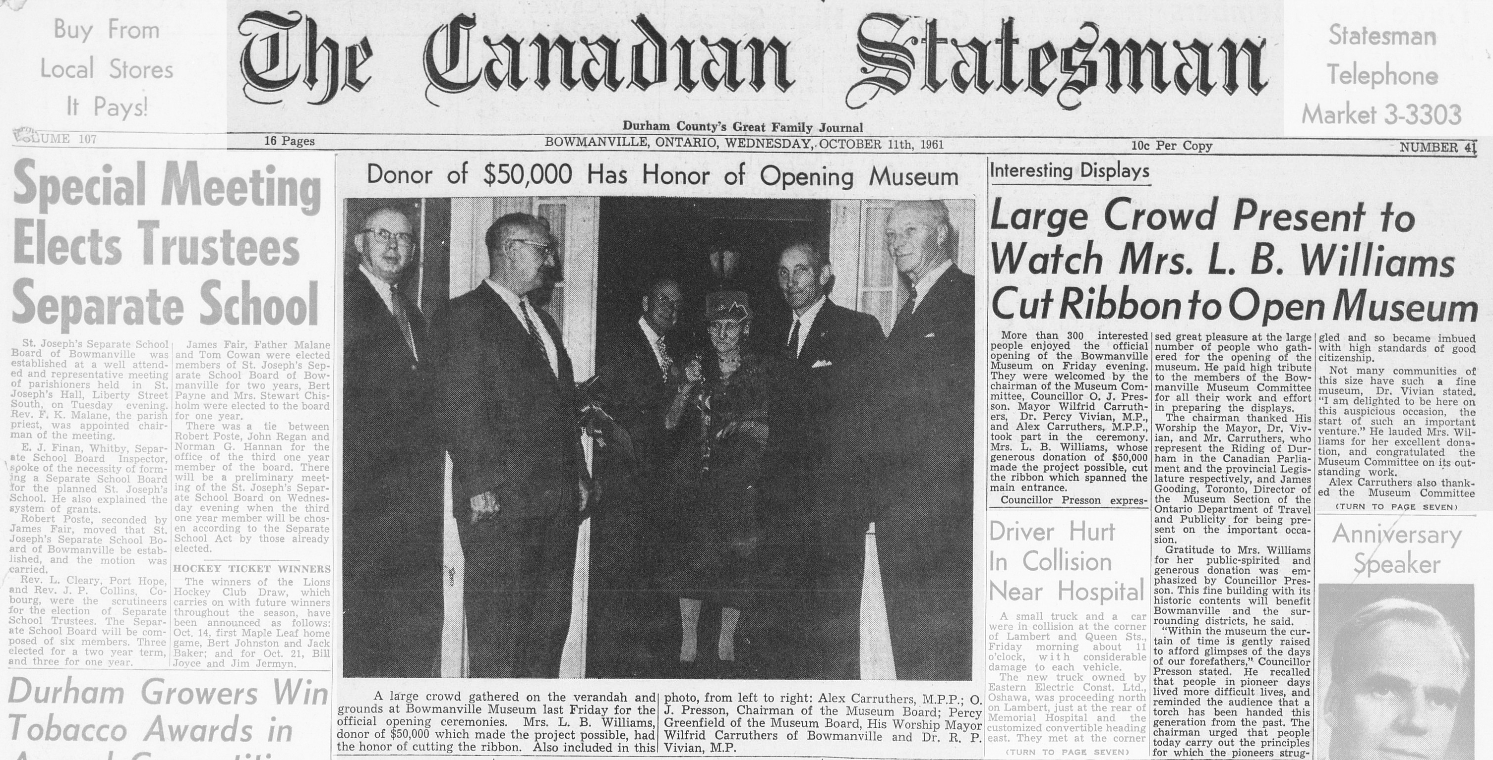 Canadian Statesman newspaper front page.